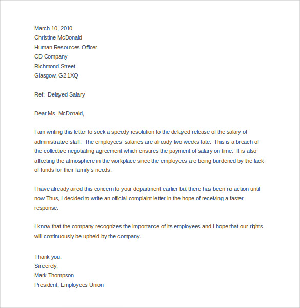 Sample Letter Of Complaint To Management Pdf Doc Top