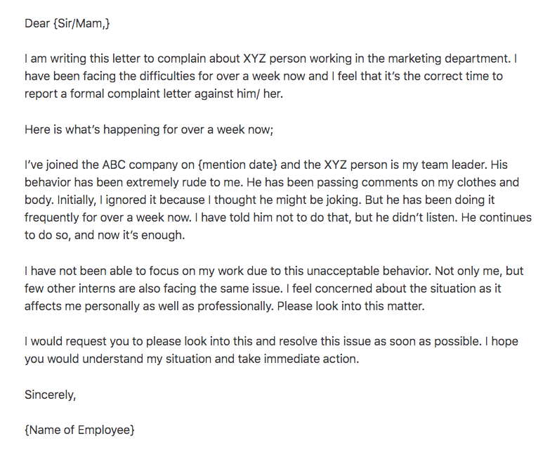 Formal Complaint Letter Sample against a Person - Top ...