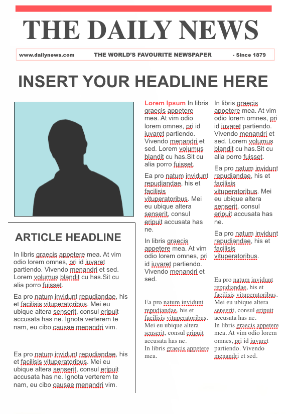 editable newspaper template google docs - free download blank sample
