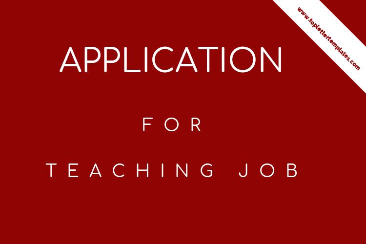 Application Letter For Teaching Job In School Sample Pdf