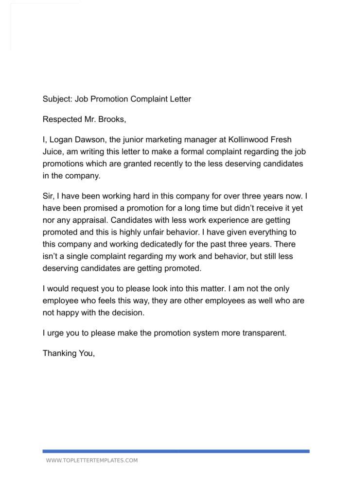 Letter Of Complaint To Employer Unfair Treatment