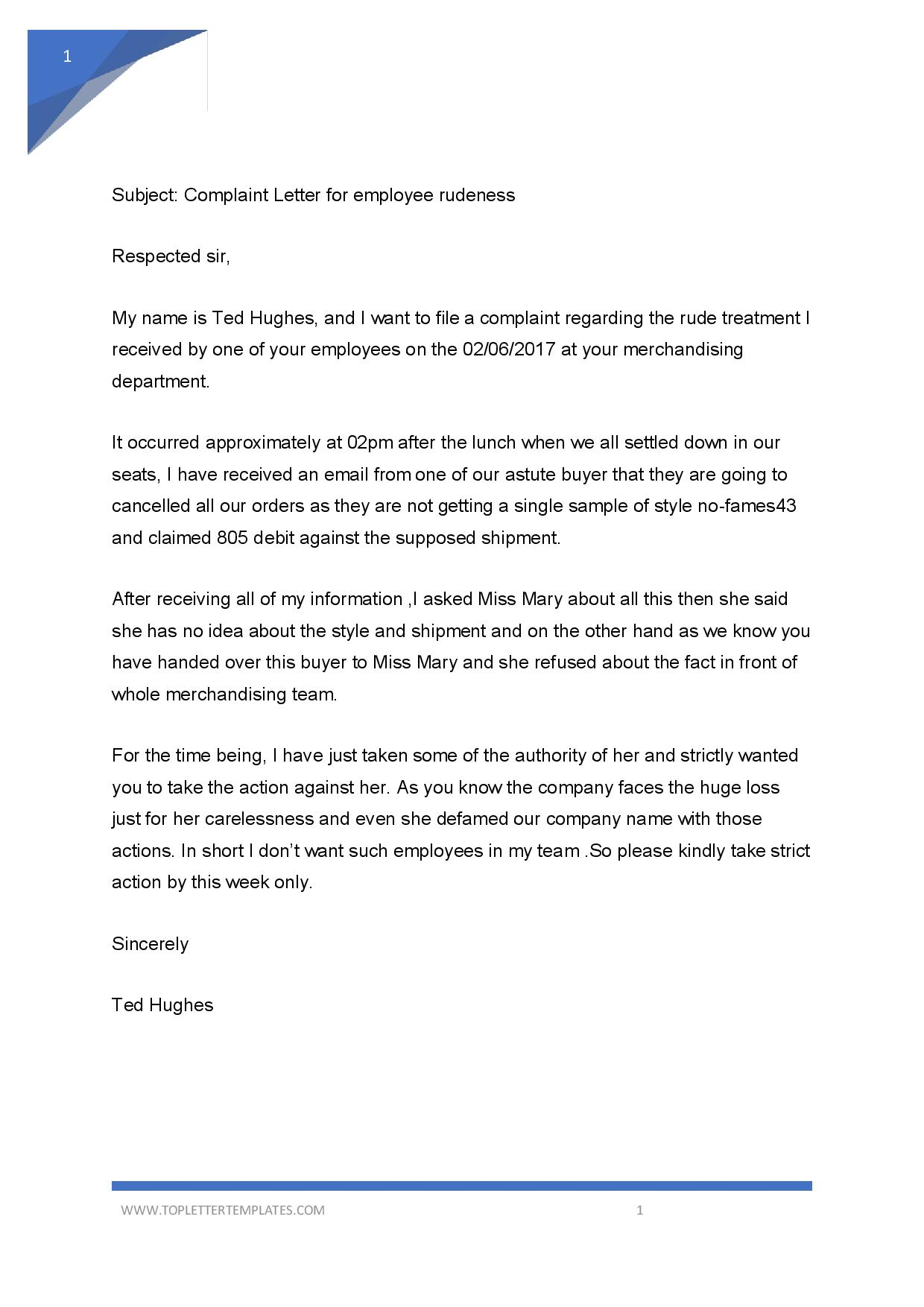 Complaint Letter To Boss About Coworker Sample from toplettertemplates.com