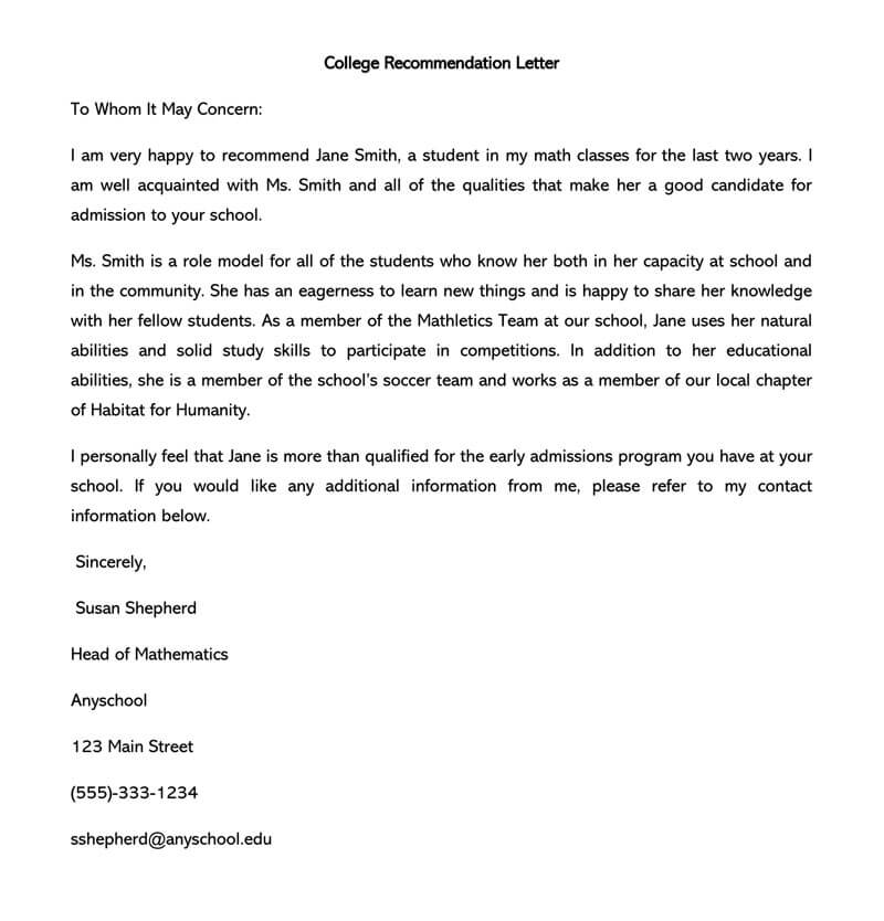 Student Recommendation Letter Example from toplettertemplates.com